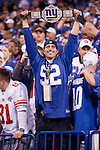 New York Giants fan cheers after the NFL Super Bowl XLVI football game against the New England Patriots on Sunday, Feb. 5, 2012, in Indianapolis. The Giants won 21-17 (AP Photo/David Stluka)...