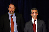 Chicago, IL - December 15, 2008 -- United States President-elect Barack Obama's designated Chief of Staff Rahm Emanuel (R) and senior advisor David Axelrod (L) listen to reporters questions to Obama about the Illinois Governor scandal at a news conference in Chicago, Illinois on Monday, December 15, 2008. .Credit: Jeff Haynes / CNP