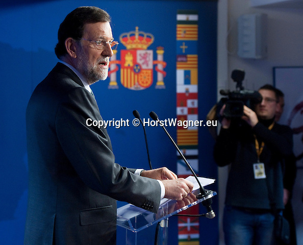 Brussels-Belgium - December 14, 2012 -- European Council, EU-summit meeting of Heads of State / Government; here, Mariano RAJOY BREY, Prime Minister of Spain, on the second day of the European Summit, briefing the media -- Photo: © HorstWagner.eu