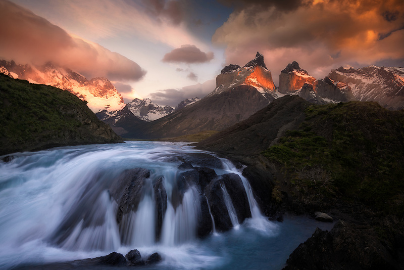 Sunrise over Paine Massif. Torres Del Paine National Park, Chile