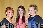 Sarah O'Mahony, Niamh O'Donoghue and Shauna Culloty at the Legion GAA social in the Killarney Avenue Hotel on Saturday night