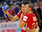 BELGRADE, SERBIA - DECEMBER 15: Anja Edin (L) and Camilla Herrem (R) of Norway celebrates victory against Hungary after the Women's European Handball Championship 2012 semifinal match between Norway and Hungary at Arena Hall on December 15, 2012 in Belgrade, Serbia. (Photo by Srdjan Stevanovic/Getty Images)