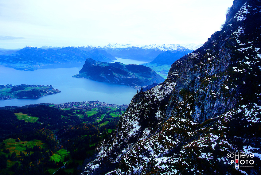 A view of Lake Lucerne from the top of Mount Pilatus.