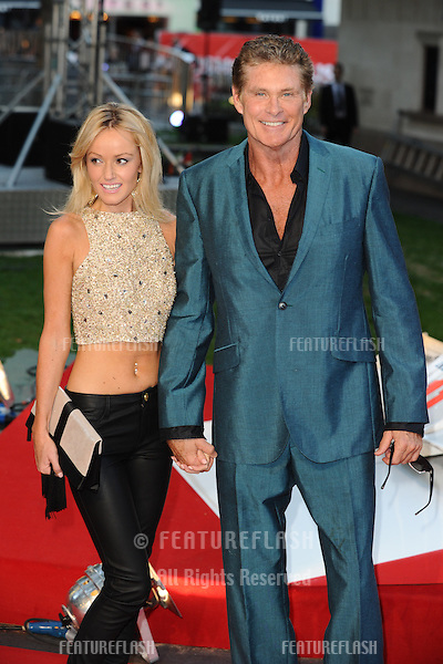"David Hasselhoff and girlfriend Hayley arriving for the ""Rush"" World premiere at the Odeon Leicester Square, London. 02/09/2013 Picture by: Steve Vas / Featureflash"
