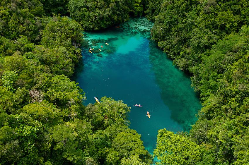 A favorite Kayaking spot, Aerial of the Rockislands, Mandarin Fish lake Palau Micronesia