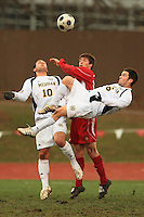 November 14, 2008: University of Michigan's Jake Stacy (#6) performs an acrobatic kick on goal during the second round of the 2008 Big Ten Tournament in Madison Wisconsin..