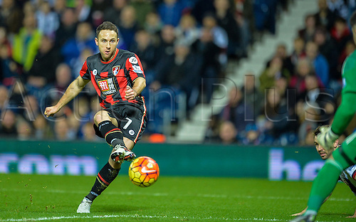19.12.2015. The Hawthorns, West Bromwich, England. Barclays Premier League. West Bromwich Albion versus AFC Bournemouth. Marc Pugh of Bournemouth has a shot on goal.