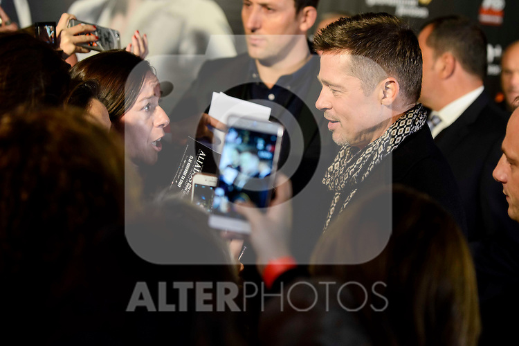 "American actor Brad Pitt attends to the photocall of the premiere of ""Aliados"" in Madrid. November 22, 2016. (ALTERPHOTOS/Borja B.Hojas)"