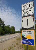US coastal route 1 nearing its northern terminus running through Downeast Maine near Cobscook Bay State Park, Edmunds Township, Maine