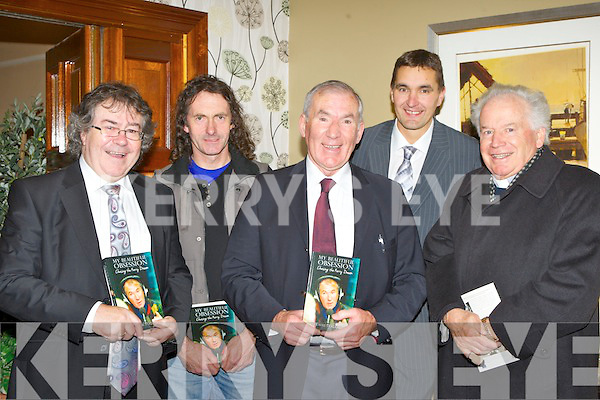 Weeshie Fogarty with l-r: Gabriel Fitzmaurice, John Lenihan, Maurice Fitzgerald and Bishop Bill Murphy at the launch of his autobiography My Beautiful Obsession in the Gleneagle Hotel Killarney on Friday night..