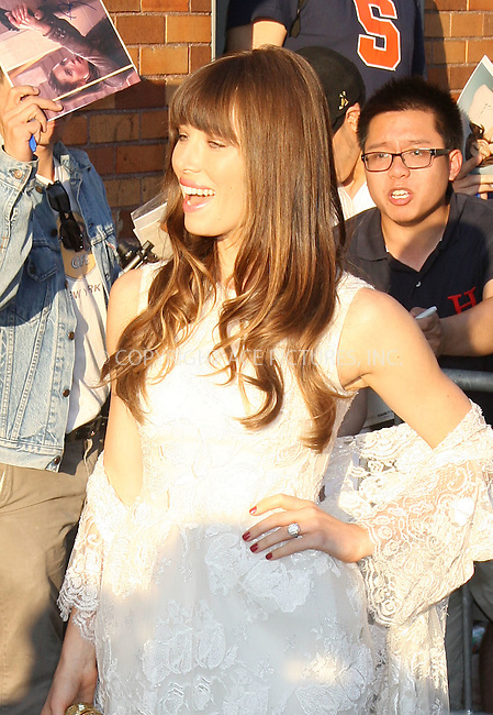 WWW.ACEPIXS.COM . . . . ....August 2, 2012 New York City....Actress Jessica Biel makes an appearance at the John Stewart Show on August 2 2012 in New York City.....Please byline: PHILIP VAUGHAN - ACE PICTURES.... *** ***..Ace Pictures, Inc:  ..Philip Vaughan (212) 243-8787 or (646) 769 0430..e-mail: info@acepixs.com..web: http://www.acepixs.com