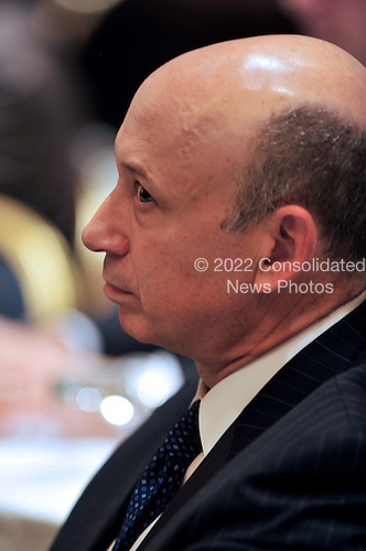 Lloyd Blankfein, Chairman and Chief Executive Officer, The Goldman Sachs Group, Inc. (GSI) listens as United States President Barack Obama delivers remarks to the Business Council at the Park Hyatt Hotel in Washington, D.C. on Tuesday, May 4, 2010.  In his remarks the President also spoke about the attempted bombing in Times Square..Credit: Ron Sachs / Pool via CNP
