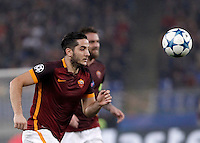 Calcio, Champions League, Gruppo E: Roma vs Bayer Leverkusen. Roma, stadio Olimpico, 4 novembre 2015.<br /> Roma's Kostas Manolas in action during a Champions League, Group E football match between Roma and Bayer Leverkusen, at Rome's Olympic stadium, 4 November 2015.<br /> UPDATE IMAGES PRESS/Isabella Bonotto