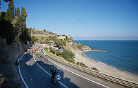 peloton on it's way along The Mediterranean<br /> <br /> 107th Milano-Sanremo 2016