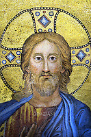 mosaic icon jesus christ.Pope Francis Celebration of the second vespers of Saint Paul basilica in Rome. January 25, 2016