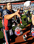 21 October 2007: Buffalo Bills quarterback Trent Edwards interacts with fans after the game against the Baltimore Ravens at Ralph Wilson Stadium in Orchard Park, NY. The Bills defeated the Ravens 19-14 in front of 70,727 fans marking their second win of the 2007 season...Mandatory Photo Credit: Ed Wolfstein Photo