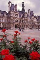 AJ0766, Paris, France, Europe, Hotel de Ville, Red roses adorn the grounds of the Hotel de Ville (City Hall) in Paris.