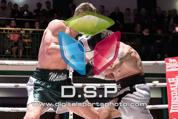 Louis Isaacs vs Anto Natic 4x3 - Lightweight contest During Goodwin Boxing - Strike Force. Photo by: Simon Downing.<br /> <br /> Saturday March 10th 2018 - York Hall, Bethnal Green, London, United Kingdom.