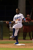AZL Dodgers center fielder Rolando Lebron (13) celebrates after hitting a triple during an Arizona League game against the AZL Angels at Camelback Ranch on July 8, 2018 in Glendale, Arizona. The AZL Dodgers defeated the AZL Angels by a score of 5-3. (Zachary Lucy/Four Seam Images)