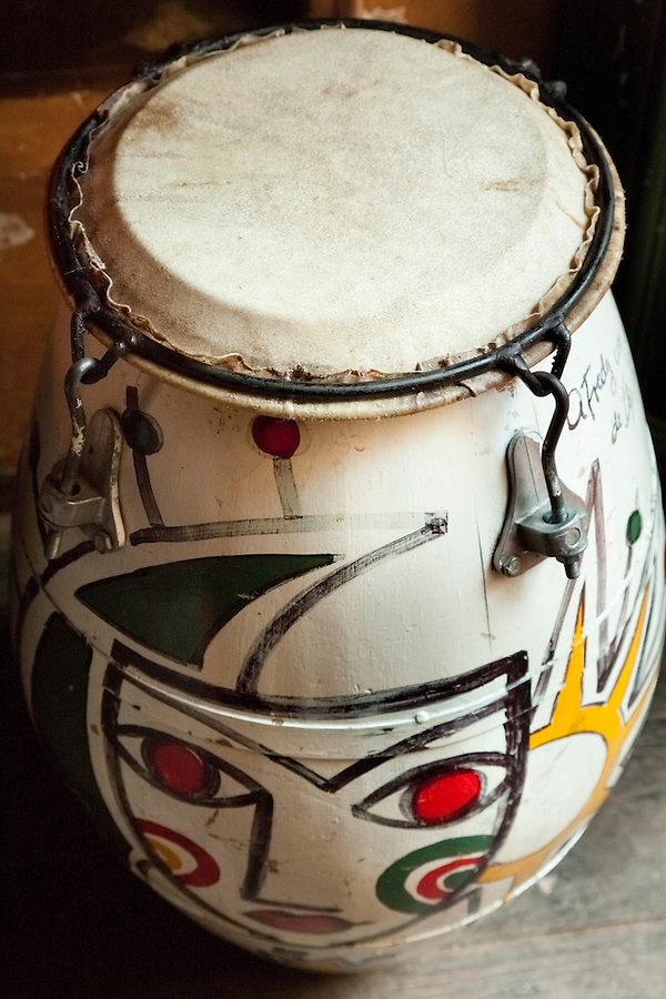 "Tambor drum on display in the ""Tango"" cultural center in Montevideo, Uruguay."
