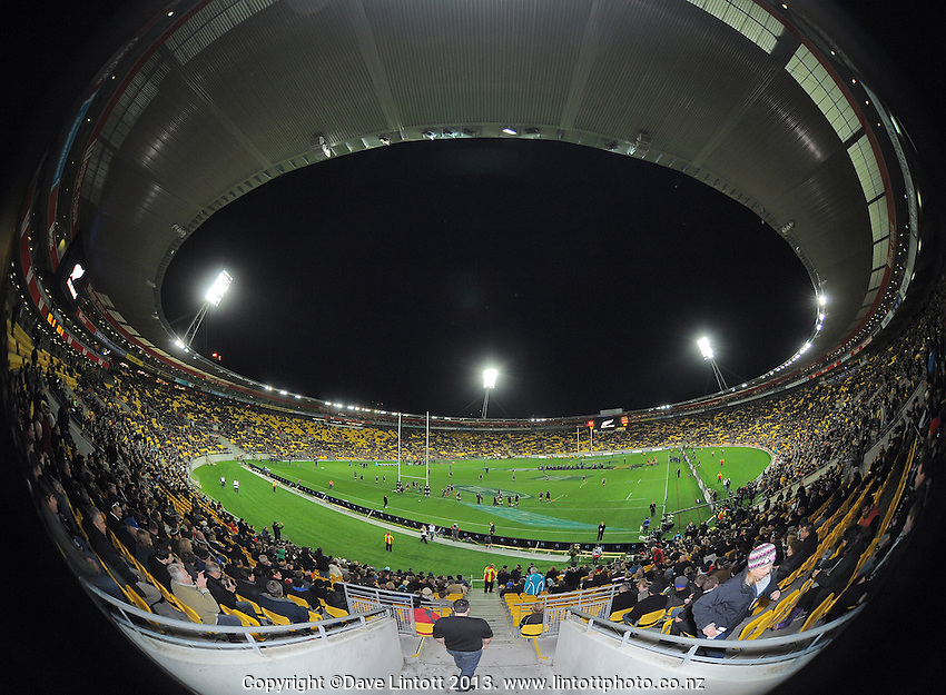 A general view of the stadium during the Rugby Championship international rugby Bledisloe Cup test match between All Blacks and Australia at Westpac Stadium, Wellington, New Zealand on Saturday, 24 August 2013. Photo: Dave Lintott / lintottphoto.co.nz