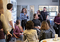 "Students, faculty and staff gather on Wednesday, May 8, 2019 in the Global Forum and Varelas Innovation Lab in Johnson Hall for a celebration of student research from Spring 2019 courses, with projects utilizing Scalar, 360 video and drone photography, virtual reality, audio recordings, and more: ARTH180 ""Introduction to Later European Art""; ARTH390 ""Building the American Pacific""; CSP70 ""Countercultural Northeast LA: The Arts of Resistance""; CTSJ 337 ""Queer Los Angeles: Cruising the Archive""; CSLC233/RUSN333 ""Codes, Cultures, & Killing""; HIST355 ""Indians of Mexico.<br /> (Photo by Marc Campos, Occidental College Photographer)"