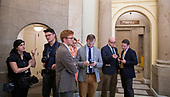 WASHINGTON, DC: Members of the media wait for  Speaker of the House Nancy Pelosi (D-CA ) to attend a meeting with the House Democratic caucus after talking the possible impeachment of U.S. President Donald Trump  on Capitol Hill on September 24, 2019. <br /> Credit: Tasos Katopodis / CNP