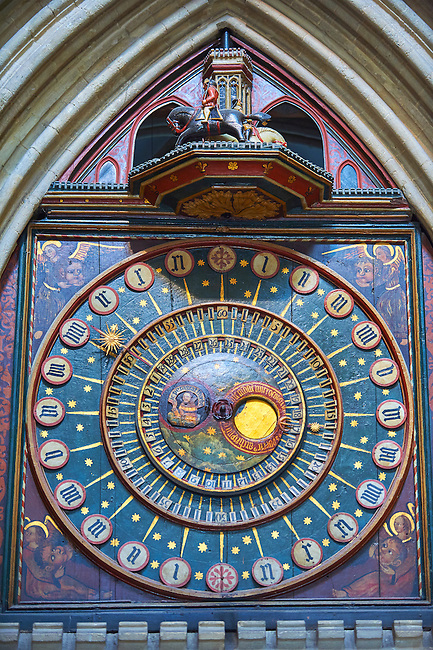 Wells clock made in 1390, the second oldest working clock in the world with the oldest original dials. The medieval Wells Cathedral built in the Early English Gothic style in 1175, Wells Somerset, England