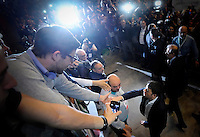 Il Presidente del Consiglio e Segretario del Partito Democratico Matteo Renzi <br /> Torino 12-04-2014 PalaIsozaki <br /> Apertura Campagna elettorale elezioni europee Partito Democratico <br /> Opening European elections campaign of the Democratic Party<br /> Foto Giorgio Perottino / Insidefoto