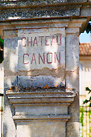 A stone pillar inscribed with Chateau Canon Saint Emilion Bordeaux Gironde Aquitaine France