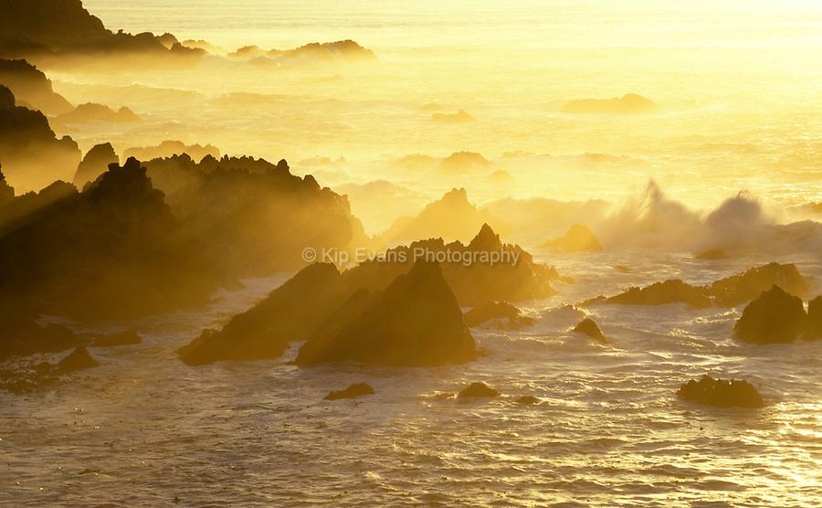 Sunset illuminates Carmel Highlands
