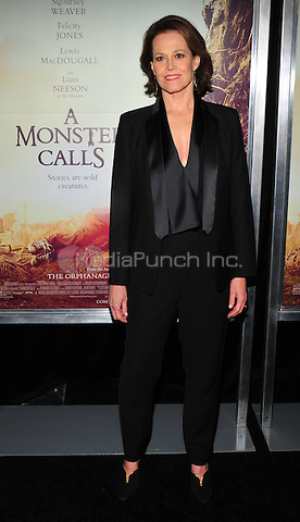New York, NY: December 7: Sigourney Weaver attends 'A Monster Calls' New York Premiere at AMC Loews Lincoln Square 13 theater on December 7, 2016 in New York City.@John Palmer / Media Punch