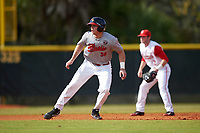 Illinois State Redbirds first baseman Brian Rodemoyer (30) leads off second base in front of shortstop Craig Nennig (7) during a game against the Ohio State Buckeyes on March 5, 2016 at North Charlotte Regional Park in Port Charlotte, Florida.  Illinois State defeated Ohio State 5-4.  (Mike Janes/Four Seam Images)