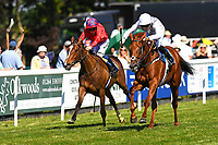 Winner of The Whitsbury Manor Stud Bibury Cup Handicap infrastructure near side  ridden by Callum Shepherd and trained by Martin Meade during Whitsbury Manor Stud Bibury Cup Day Racing at Salisbury Racecourse on 27th June 2018