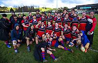 The Bush team celebrate winning the Manawatu senior B rugby union match between Bush and Massey Rams at Bush Multisport Park in Pahiatua, New Zealand on Saturday, 11 July 2020. Photo: Dave Lintott / lintottphoto.co.nz