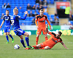 Cardiff's Lex Immers tussles with Ipswich's Luke Chambers during the Sky Bet Championship League match at The Cardiff City Stadium.  Photo credit should read: David Klein/Sportimage