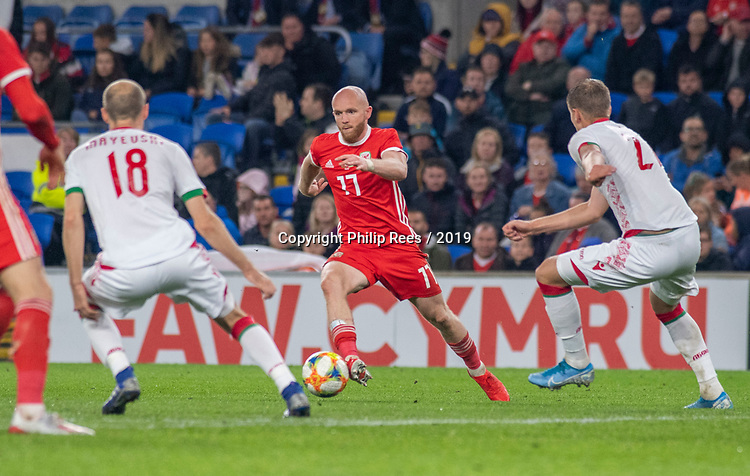 Cardiff - UK - 9th September :<br />Wales v Belarus Friendly match at Cardiff City Stadium.<br />Jonny Williams of Wales takes on Ivan Maevski of Belarus.<br />Editorial use only