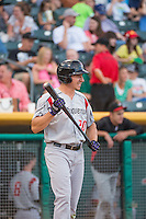 Matt McBride (20) of the Albuquerque Isotopes at bat against the Salt Lake Bees in Pacific Coast League action at Smith's Ballpark on June 8, 2015 in Salt Lake City, Utah.   The Isotopes defeated the Bees 8-7 in game two of a double-header.  (Stephen Smith/Four Seam Images)