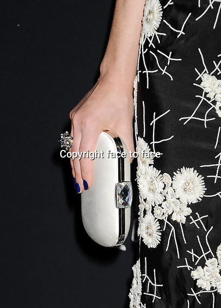 BEVERLY HILLS, CA- FEBRUARY 22: Actress Crystal Reed (handbag, ring detail) at the 16th Costume Designers Guild Awards at The Beverly Hilton Hotel on February 22, 2014 in Beverly Hills, California.<br />