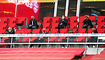 23.05.2020, Allianz Arena, München, GER, 1.FBL, FC Bayern München vs Eintracht Frankfurt 23.05.2020 , <br /><br />Nur für journalistische Zwecke!<br /><br />Gemäß den Vorgaben der DFL Deutsche Fußball Liga ist es untersagt, in dem Stadion und/oder vom Spiel angefertigte Fotoaufnahmen in Form von Sequenzbildern und/oder videoähnlichen Fotostrecken zu verwerten bzw. verwerten zu lassen. <br /><br />Only for editorial use! <br /><br />DFL regulations prohibit any use of photographs as image sequences and/or quasi-video..<br />im Bild<br />Uli HOENESS (former FCB President ),  Oliver KAHN, FCB CEO, Jan-Christian Dreesen ,  managing financial director FCB mit Mundschutz, Franz BECKENBAUER ( ex FCB President, captain of honor FCB)  <br /> Foto: Peter Schatz/Pool/Bratic/nordphoto