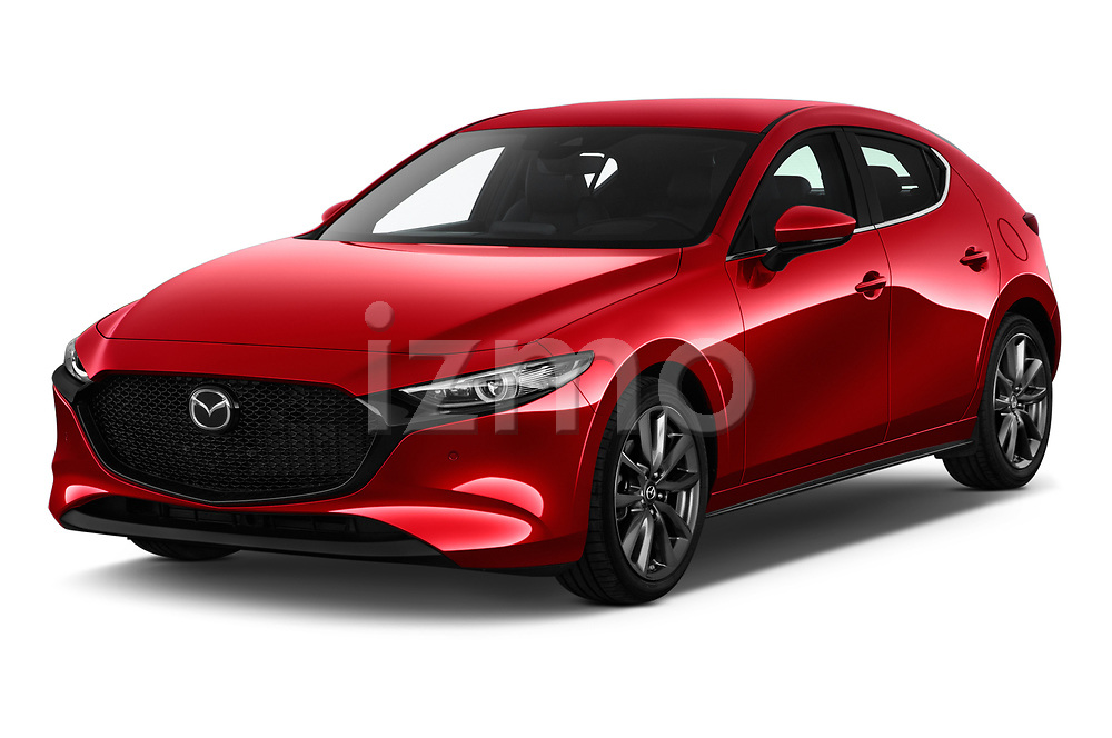 2019 Mazda Mazda3 Skycruise 5 Door Hatchback angular front stock photos of front three quarter view
