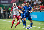 Leicester City FC defender Danny Simpson (R) competes for the ball with West Bromwich Albion midfielder James McClean (L) during the Premier League Asia Trophy match between Leicester City FC and West Bromwich Albion at Hong Kong Stadium on 19 July 2017, in Hong Kong, China. Photo by Weixiang Lim / Power Sport Images