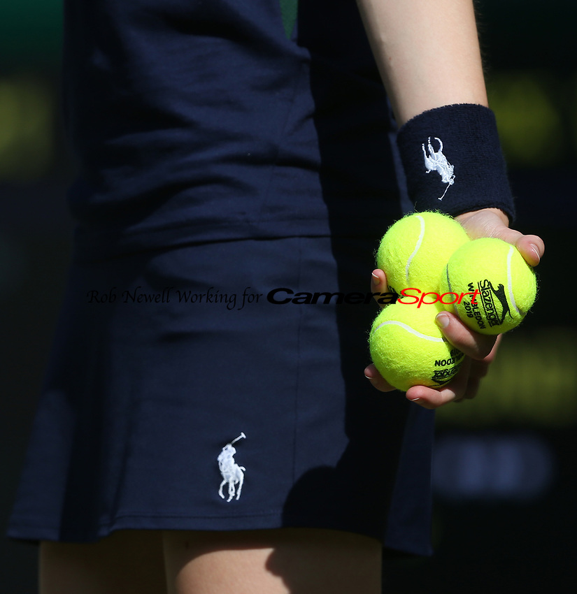 A close-up of a ball boy<br /> <br /> Photographer Rob Newell/CameraSport<br /> <br /> Wimbledon Lawn Tennis Championships - Day 3 - Wednesday 3rd July 2019 -  All England Lawn Tennis and Croquet Club - Wimbledon - London - England<br /> <br /> World Copyright © 2019 CameraSport. All rights reserved. 43 Linden Ave. Countesthorpe. Leicester. England. LE8 5PG - Tel: +44 (0) 116 277 4147 - admin@camerasport.com - www.camerasport.com