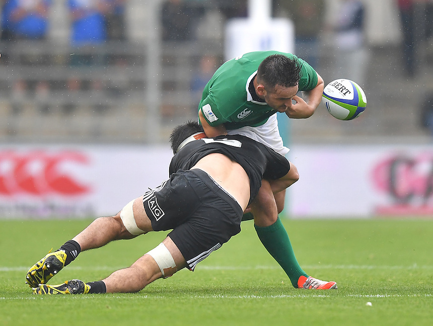 Greg Jones of Ireland looses the ball<br /> <br /> Photographer Dave Howarth/CameraSport<br /> <br /> International Rugby Union - U20 World Rugby Championships 2016 - Pool A - New Zealand U20 v Ireland U20 - Match 10 - Saturday 11th June 2016 - Manchester City Academy Stadium - Manchester<br /> <br /> World Copyright &copy; 2016 CameraSport. All rights reserved. 43 Linden Ave. Countesthorpe. Leicester. England. LE8 5PG - Tel: +44 (0) 116 277 4147 - admin@camerasport.com - www.camerasport.com<br /> <br /> Photographer Stephen White/CameraSport<br /> <br /> International Rugby Union - U20 World Rugby Championships 2016 - Pool C France U20 v Argentina U20 - Match 1 - Tuesday 07th June 2016 - AJ Bell Stadium - Salford - England<br /> <br /> World Copyright &copy; 2016 CameraSport. All rights reserved. 43 Linden Ave. Countesthorpe. Leicester. England. LE8 5PG - Tel: +44 (0) 116 277 4147 - admin@camerasport.com - www.camerasport.com