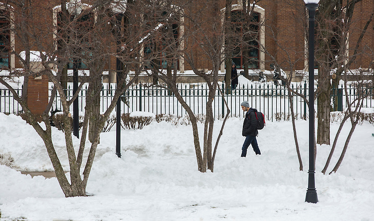 Snow covers The Quad in front of the Richard Library on the Lincoln Park Campus Tuesday, Feb. 3, 2015 following a weekend blizzard that brought double digit snow totals to the city of Chicago. (Photo by Jamie Moncrief)