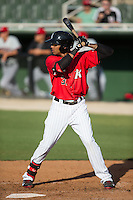 James Baldwin (37) of the Kannapolis Intimidators at bat against the Hickory Crawdads at CMC-Northeast Stadium on May 21, 2015 in Kannapolis, North Carolina.  The Intimidators defeated the Crawdads 2-0 in game one of a double-header.  (Brian Westerholt/Four Seam Images)