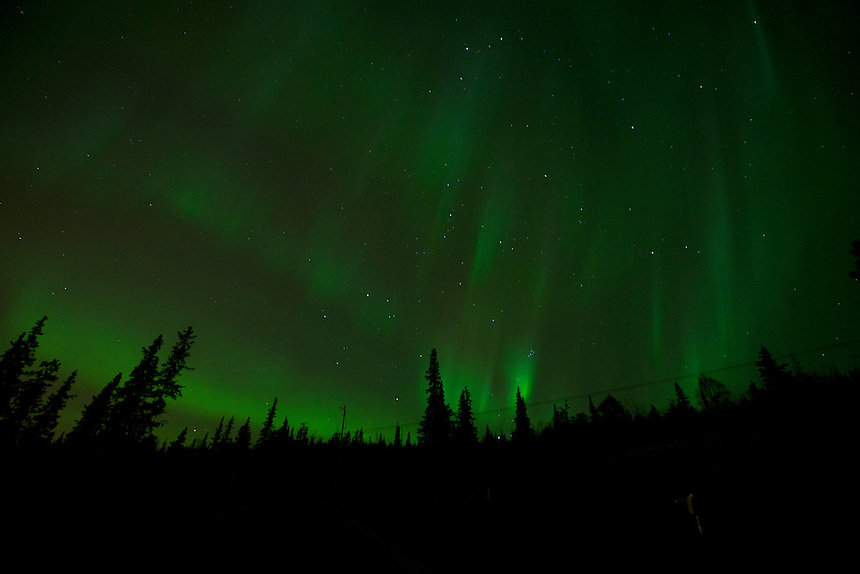 October 12, 2012 Aurora Borealis (or Northern Lights) viewed from Prominence Point, Anchorage, Alaska, United States.