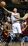 SIOUX FALLS, SD - FEBRUARY 11:  Tre Kelley #7 from the Sioux Falls Skyforce takes the ball to the basket between a pair of defenders including Robert Hite #22 from the Canton Charge in the first quarter of their game Tuesday night at the Sanford Pentagon. (Photo by Dave Eggen/Inertia)