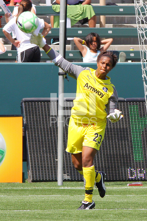 Karina LeBlanc #23 of the Los Angeles Sol makes a pass to a teammate against FC Gold Pride during their match at Home Depot Center on April 19, 2009 in Carson, California.