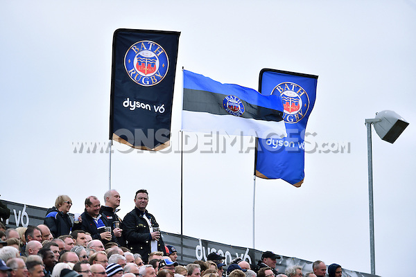 A general view of supporters in the Dyson Stand. Aviva Premiership match, between Bath Rugby and Exeter Chiefs on October 17, 2015 at the Recreation Ground in Bath, England. Photo by: Patrick Khachfe / Onside Images